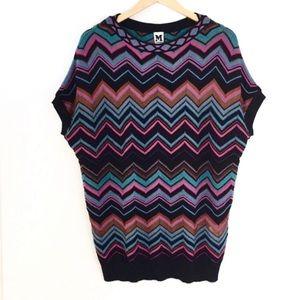 Missoni zigzag chevron short-sleeve tunic sweater